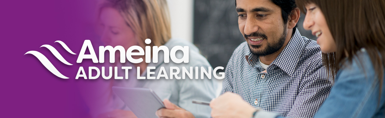 Ameina Adult Learning Logo on faded purple background into a picture of three people looking at a electronic tablet.